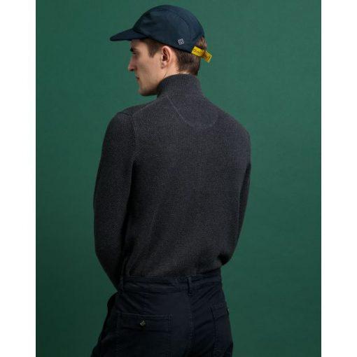 Gant Cotton Pique Zip Cardigan Antracit Melange