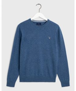 Gant Superfine Lambswool Crew Neck Jumper Stone Blue Melange