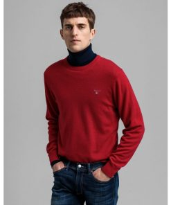 Gant Superfine Lambswool Crew Neck Jumper Bright Red