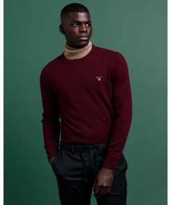Gant Superfine Lambswool Crew Neck Jumper  Burgundy