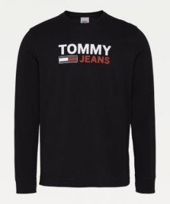 Tommy Jeans Long Sleeve Logo T-shirt Black