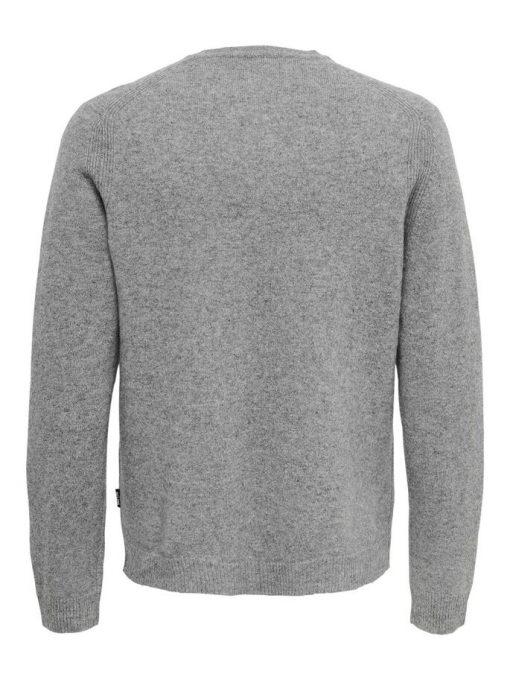 Only & Sons Howard Soft Wool Crew Neck Medium Grey Melange