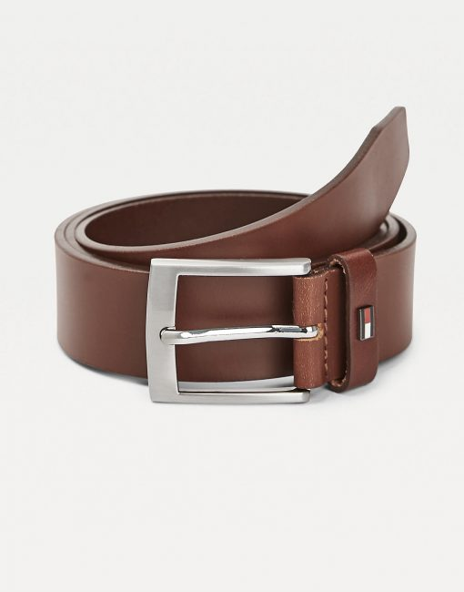 Tommy Hilfiger Flag Leather Belt Gift Box Dark Tan