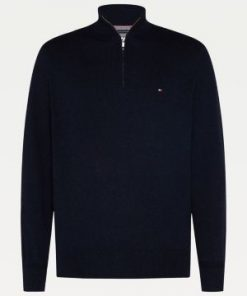 Tommy Hilfiger Mock Turtleneck Jumper Black Heather