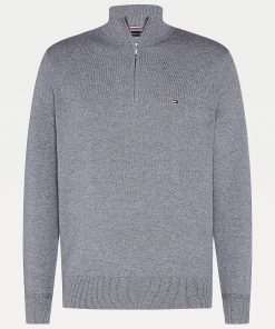 Tommy Hilfiger Mock Turtleneck Jumper Dark Grey Melange