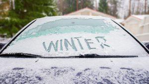 Frozen car winter driving