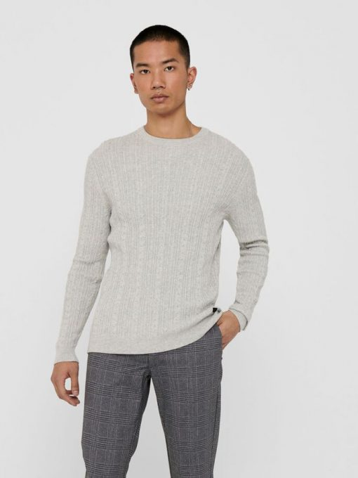 Only & Sons Thin Cable Crew Neck Knit Light Grey