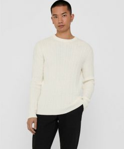 Only & Sons Thin Cable Crew Neck Knit White