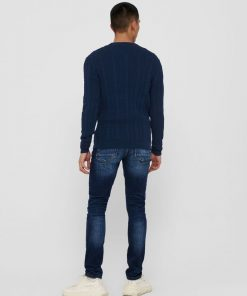 Only & Sons Thin Cable Crew Neck Knit Blue