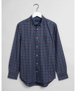 Gant Indigo Check Oxford Shirt Port Red