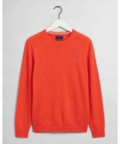 Gant Superfine Lambswool Crew Neck Jumper Atomic Orange
