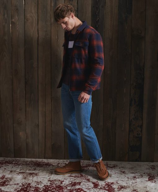 Superdry Hunting Zip Through Rust Ombre Check