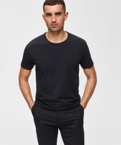 Selected Homme New Pima O-neck T-shirt Black