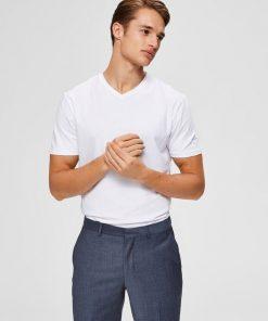 Selected Homme New Pima V-neck T-shirt White