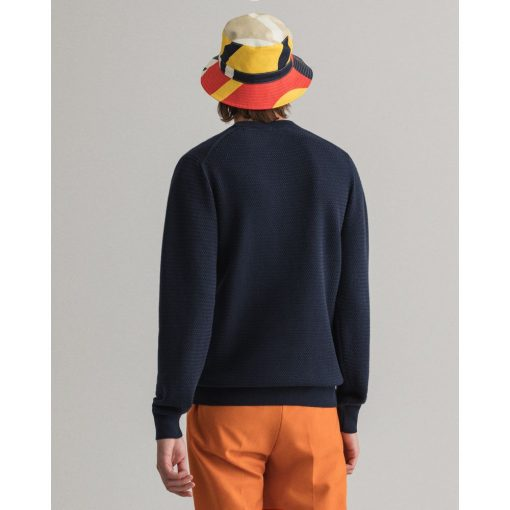 Gant Basketweave Crewneck Sweater Evening Blue