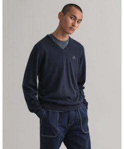 Gant Classic Cotton V-Neck Sweater Evening Blue