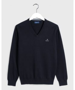 Gant Classic Cotton V-Neck Sweater Black