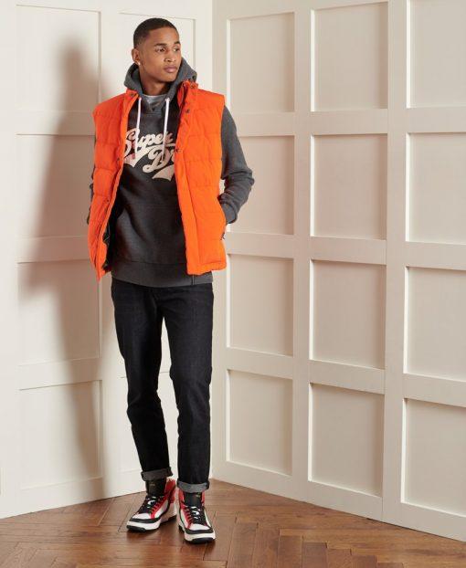 Superdry Orange Label Chenille Hood Charcoal Marl