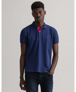Gant Contrast Collar Pique Shirt Persian Blue