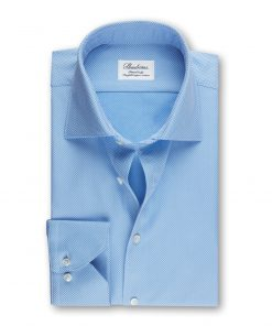 Stenströms Fitted Body Shirt Textured Blue