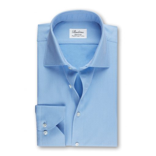 Stenströms Fitted Body Shirt Textured Blue