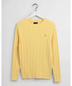 Gant Cotton Cable Crew Brimstone Yellow Melange
