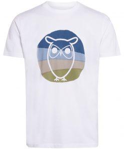 Knowledge Cotton Apparel Alder Colored Owl Tee White