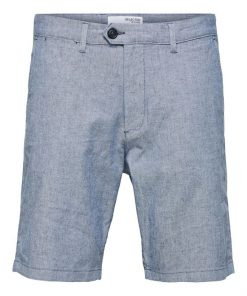 Selected Homme Miles Slim Fit Linen Shorts  Blue Depths