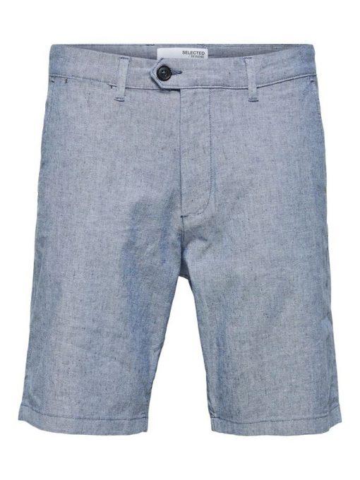 Selected Homme Miles Slim Fit Linen Shorts  Blue Depths