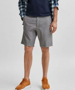 Selected Homme Miles Slim Fit Linen Shorts Black