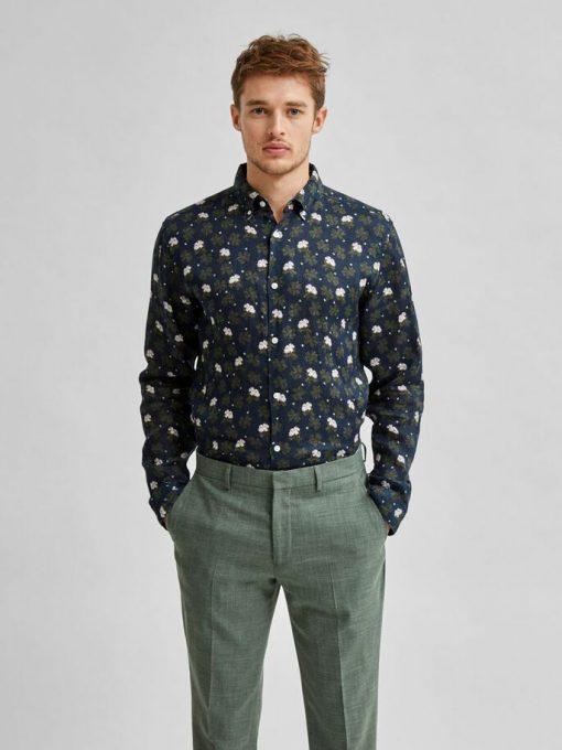 Selected Homme Clover Linen Shirt Black