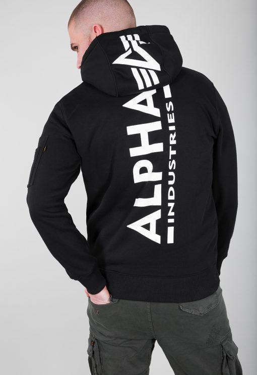 Alpha Industries Back Print Hoody Black