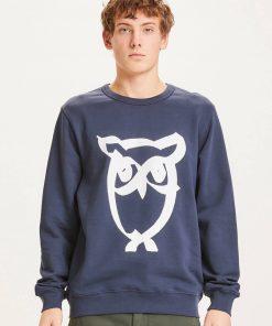 Knowledge Basic Owl Print Sweat Dark Navy