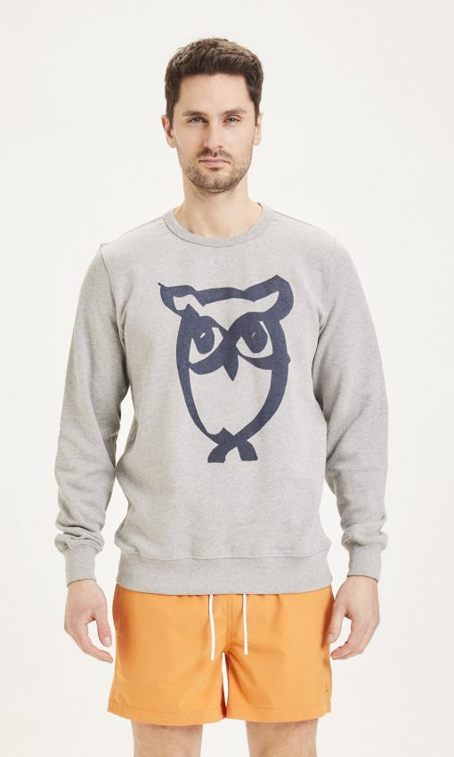 Knowledge Basic Owl Print Sweat Grey Melange