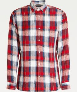 Tommy Hilfiger tartan Check Linen Shirt Arizona Red