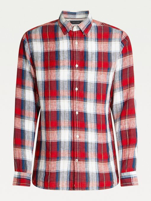 Tommy Hilfiger tartan Check Linen Shirt Arizona Red