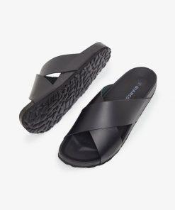 Bianco Biacedar Cross Leather Sandals Men Black
