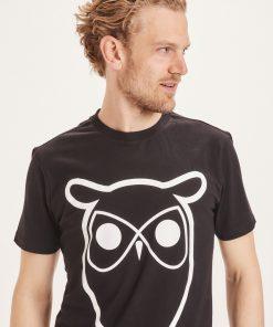 Knowledge Cotton Apparel Alder Basic Owl Tee Black