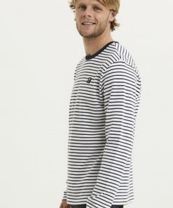 Knowledge Cotton Apparel Locus Striped Badge Long Sleeve Total Eclipse