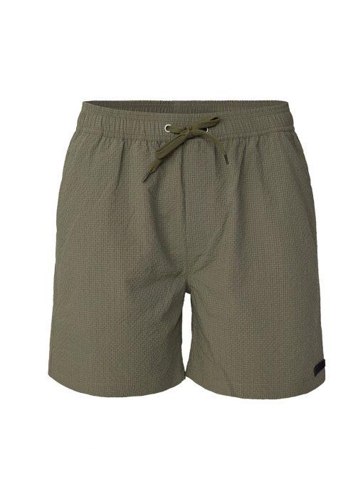 Les Deux Quinn Seersucker Swim Shorts Lichen Green