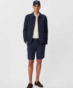 Les Deux Marseille Linen-Tencel Hybrid Shirt Jacket Dark Navy