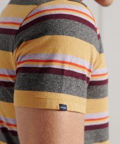 Superdry Orange Label Stripe T-Shirt Ochre Marl Stripe
