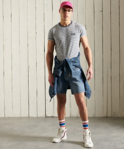 Superdry Orange Label Stripe T-Shirt Navy Stripe