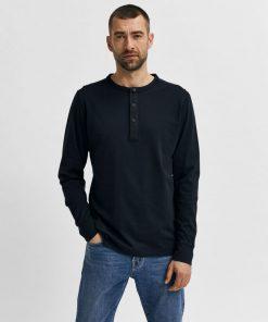 Selected Homme Baker Split Neck T-shirt Black