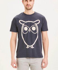 Knowledge Cotton Apparel Alder Basic Owl Tee Navy