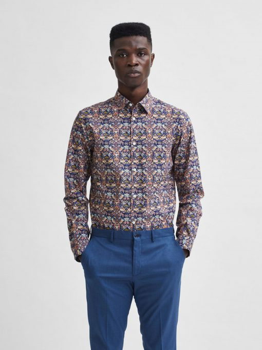 Selected Homme All Over Print Formal Shirt Dark Blue Pattern