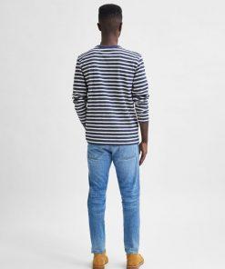 Selected Homme Magne Stripe Ls Tee Dark Blue Melange