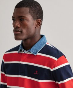 Gant Denim Collar Rugger Ls Shirt Bright Red
