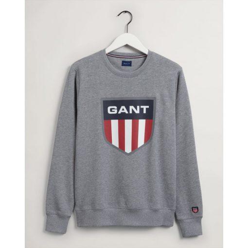 Gant Retro Shield Crew Neck Sweatshirt Grey Melange