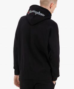 Champion Half Zip-up Script Logo Hoodie Black